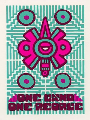 One Land One People Print Teal and Pink on Cream Background