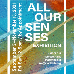 Flyer for All Our Senses Exhibition with dates of exhibition September 3 to November 15